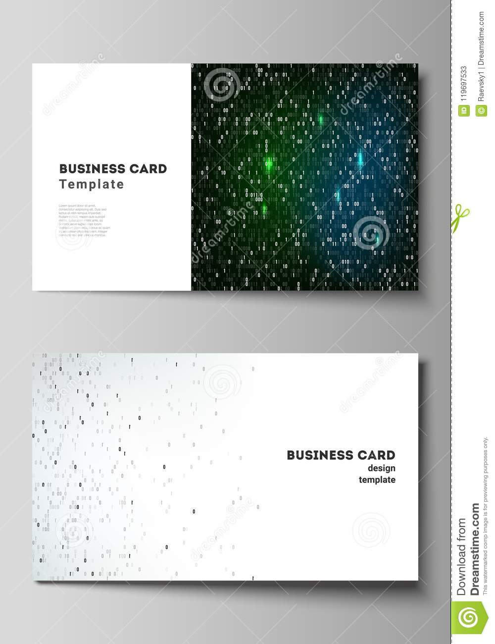The minimalistic abstract vector layout of two creative business the minimalistic abstract vector layout of two creative business cards design templates binary code background ai big colourmoves