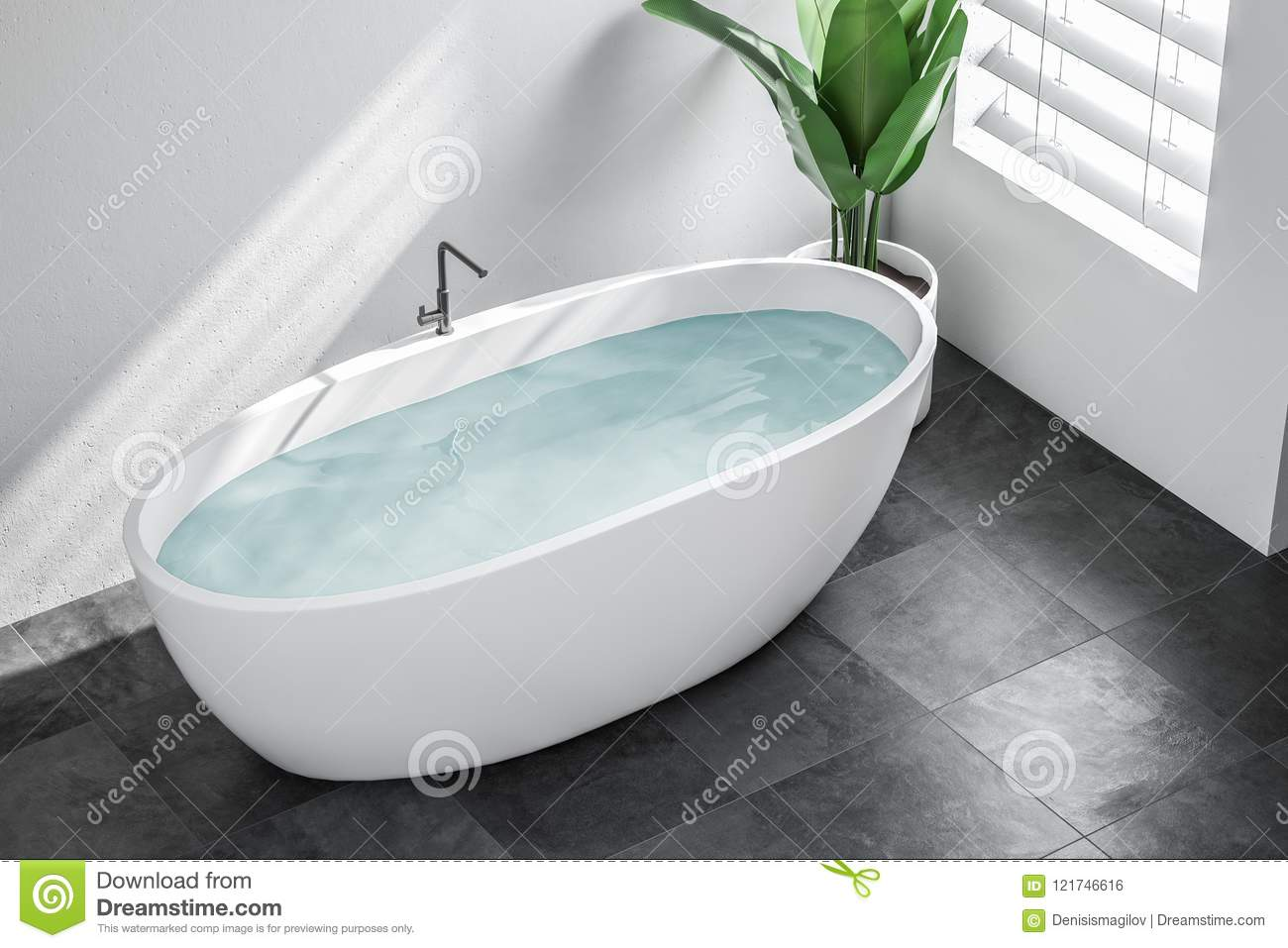 White Minimalistic Bathroom Top View Stock Illustration ...