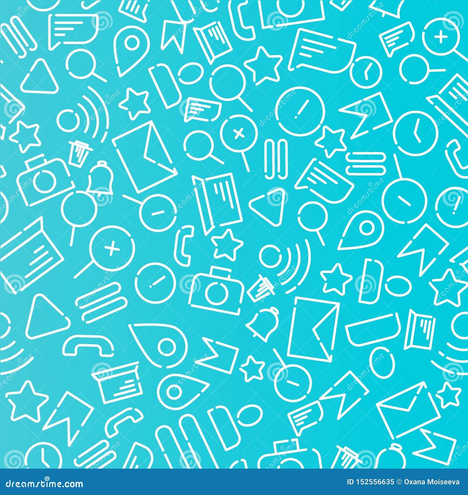 Minimalistic bezszwowy wzór z ikonami na temacie sieć, internet, zastosowania, telefon Biały wektor na błękitnym tle