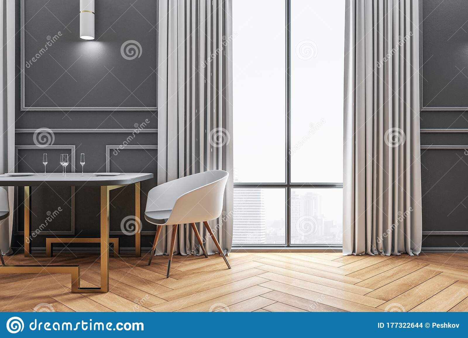 Minimalistic Cafe Interior With Decorative Dining Furniture Stock Illustration Illustration Of Cafe Contemporary 177322644