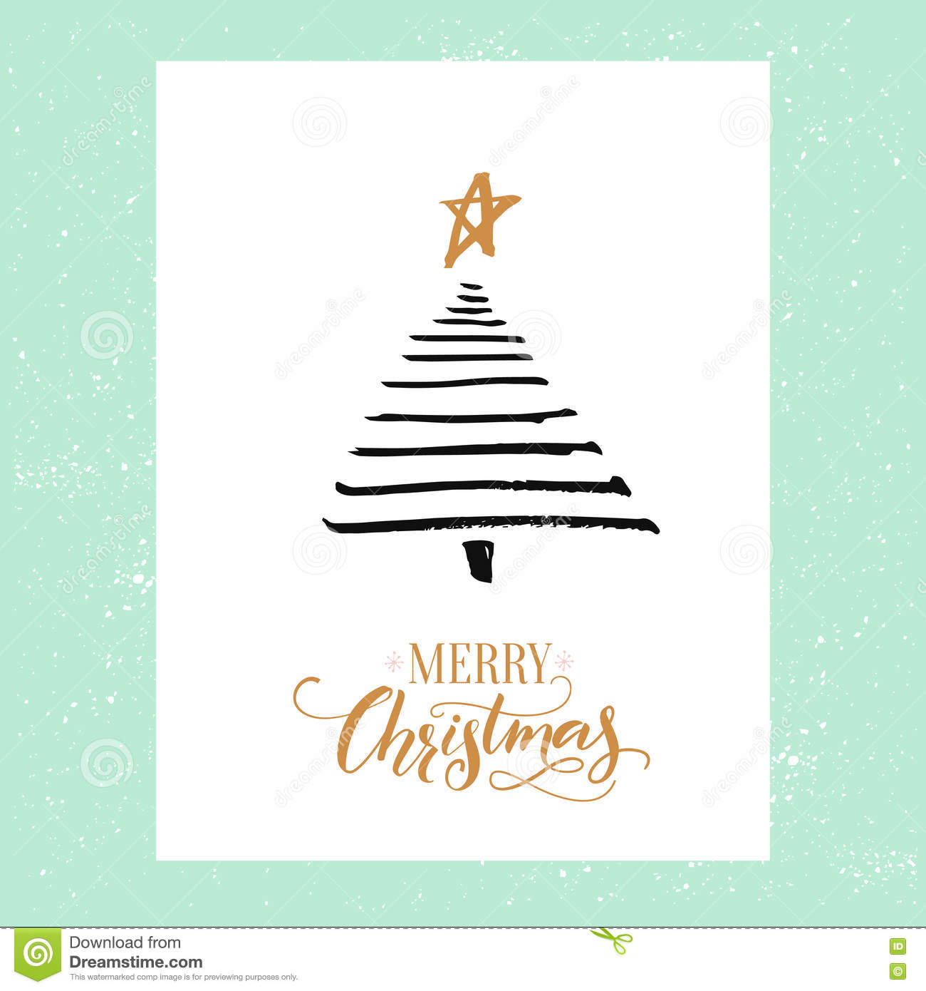 Minimalistic Christmas Greeting Card Design Simple Hand Drawn
