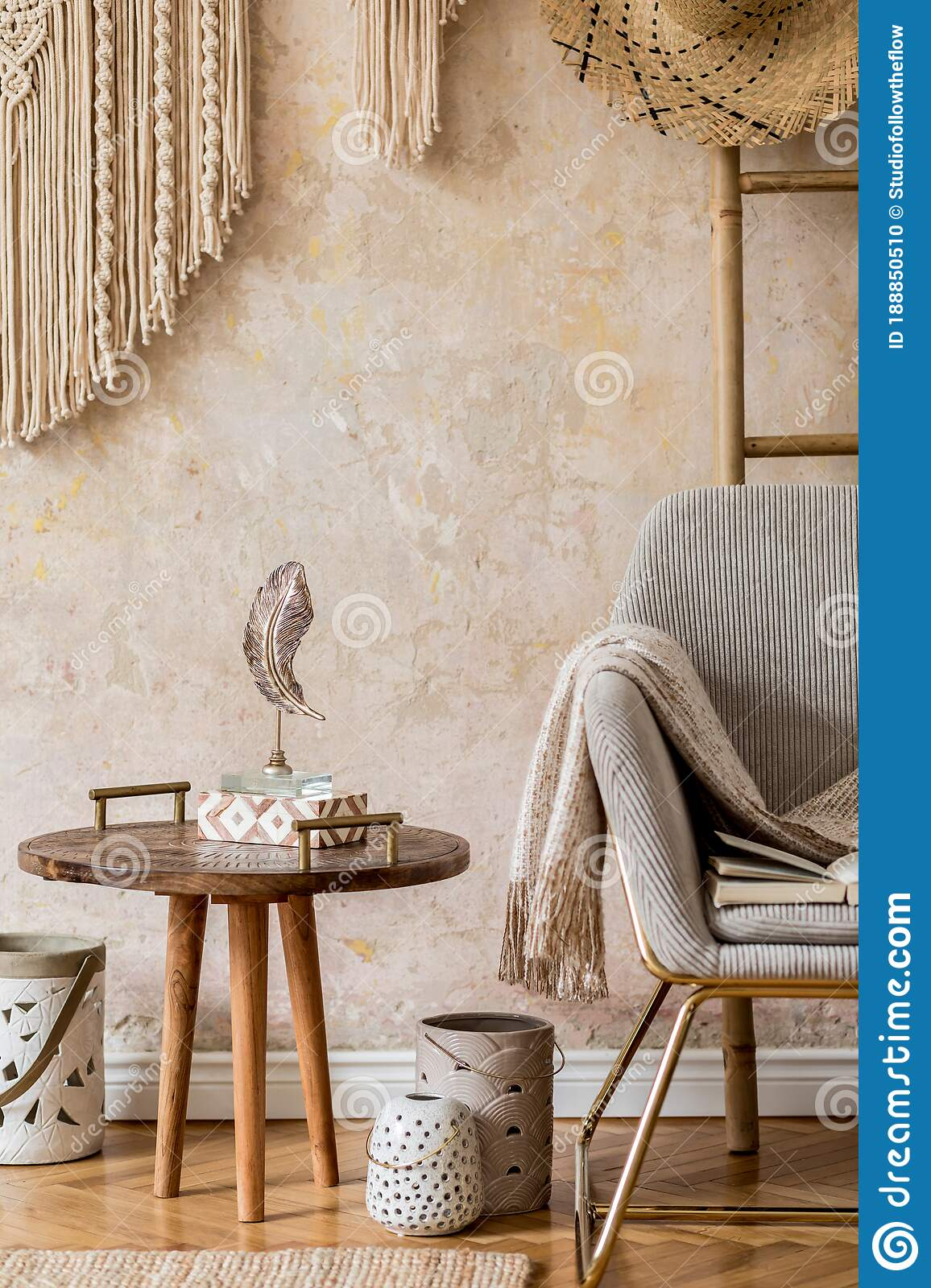 Interior Design Of Oriental Living Room With Modern Armchair Macrame Wooden Ladder Plaid Decorations And Elegant Accessories Stock Photo Image Of Chair Building 188850510