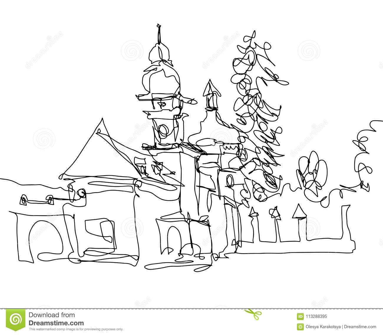 Minimalistic continuous monoline drawing of little church in western ukraine vector illustration