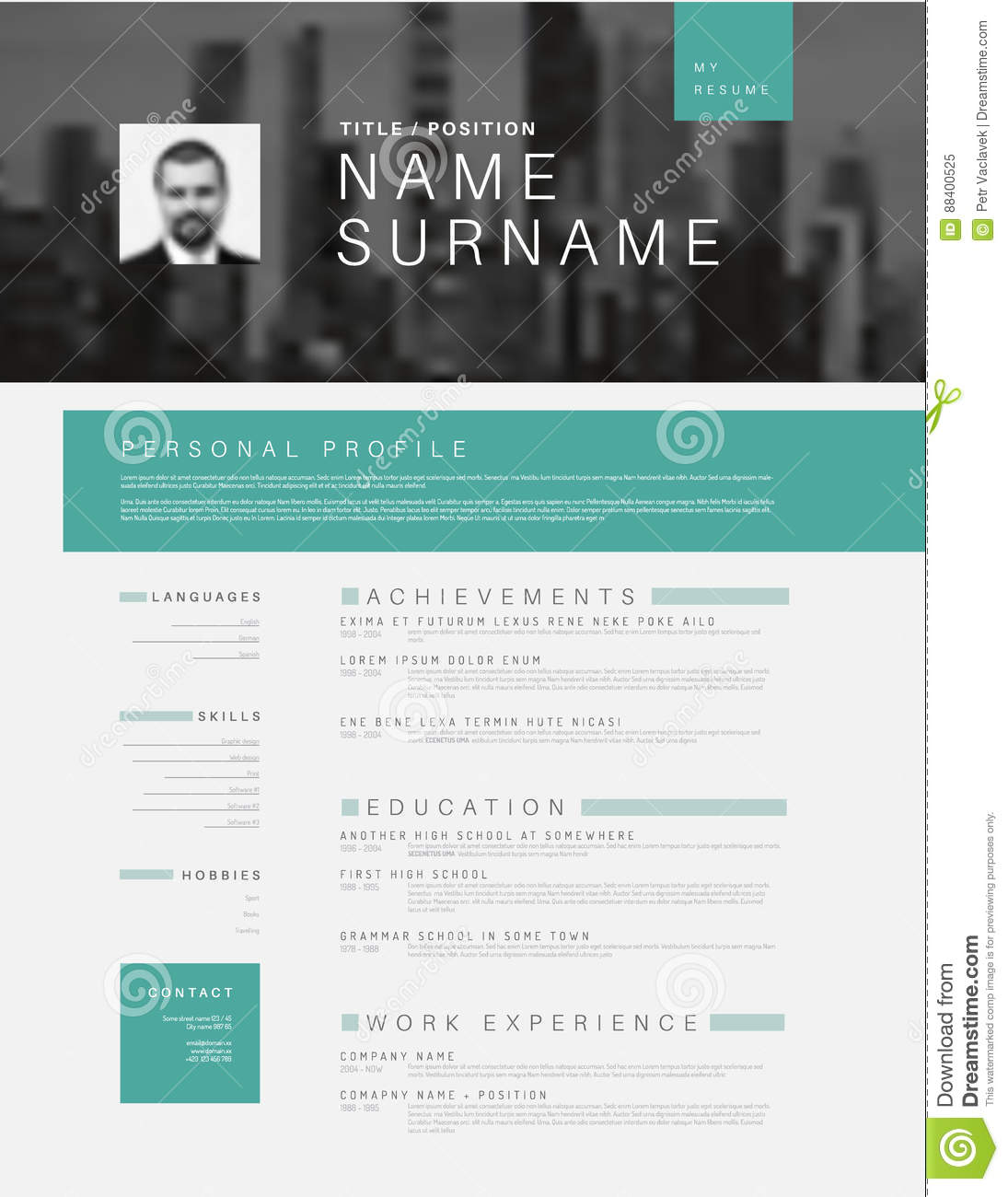 Minimalistic Cv Resume Template With Header Photo Stock Vector