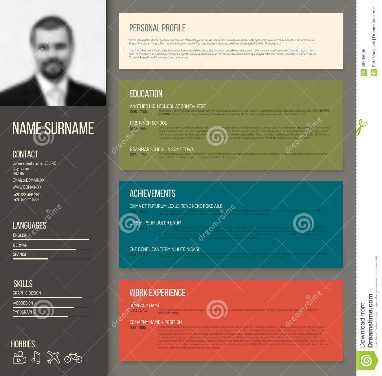 Minimalistic cv resume template stock vector image for Personal profile design templates
