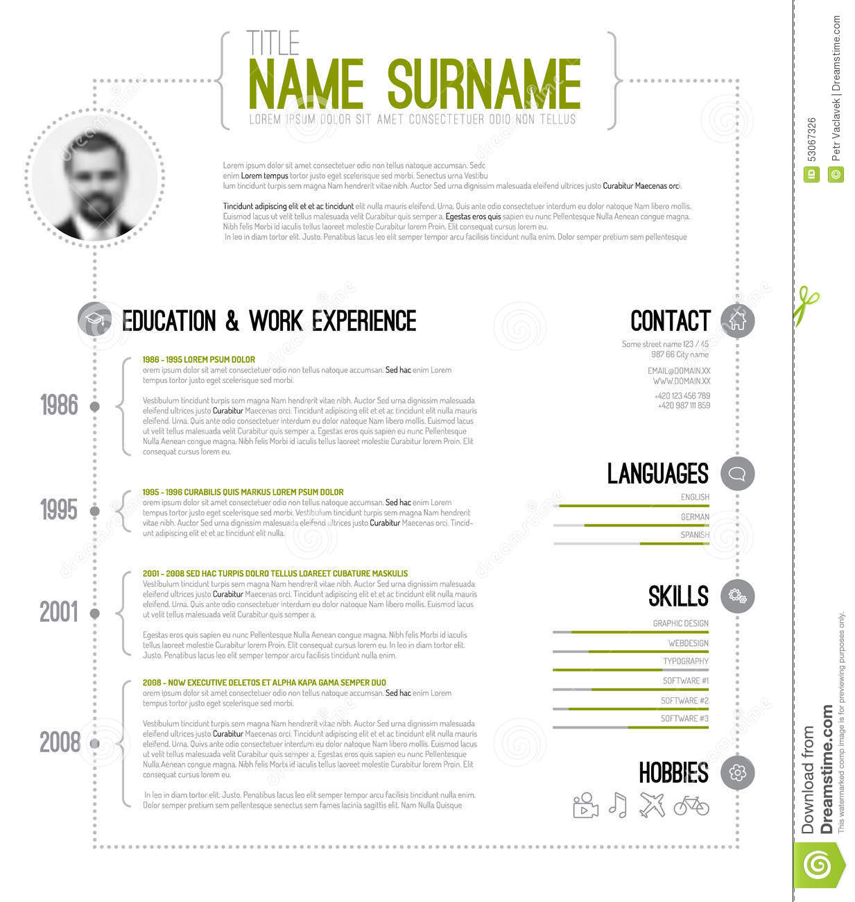 Minimalistic Cv / Resume Template Stock Vector - Illustration Of