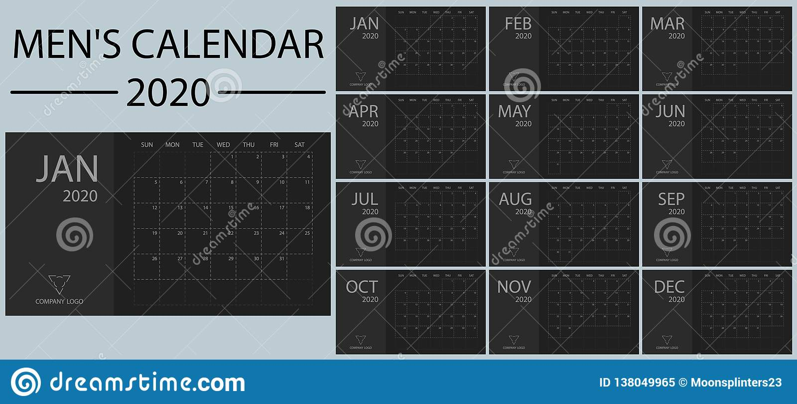 Minimalistic en de kalender 2020 vector van schone, eenvoudige en modieuze nieuwe jaarmensen Zwarte en schaduwen van grijs Gebeur