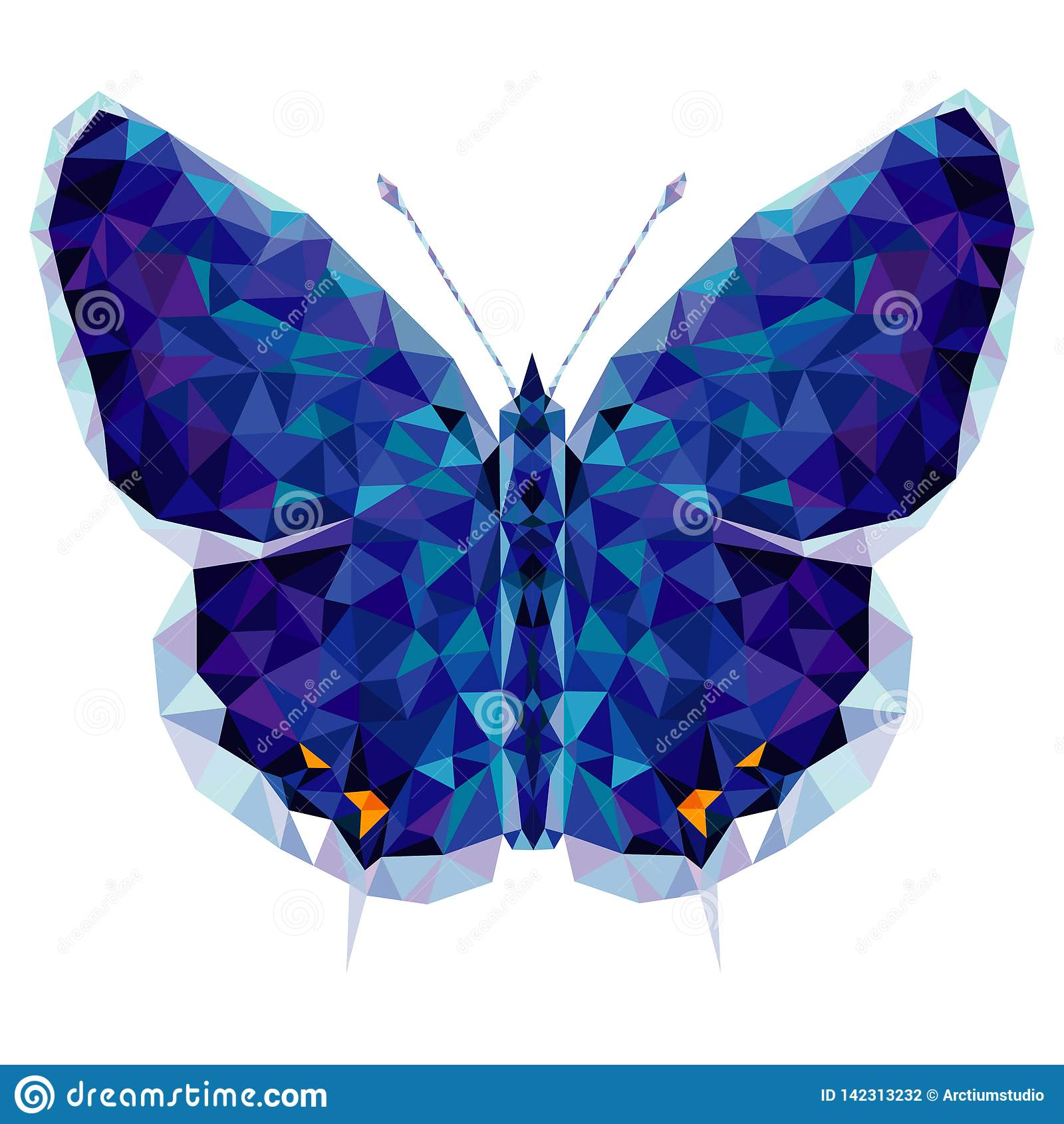 Minimalistic fjäril i låg poly stil