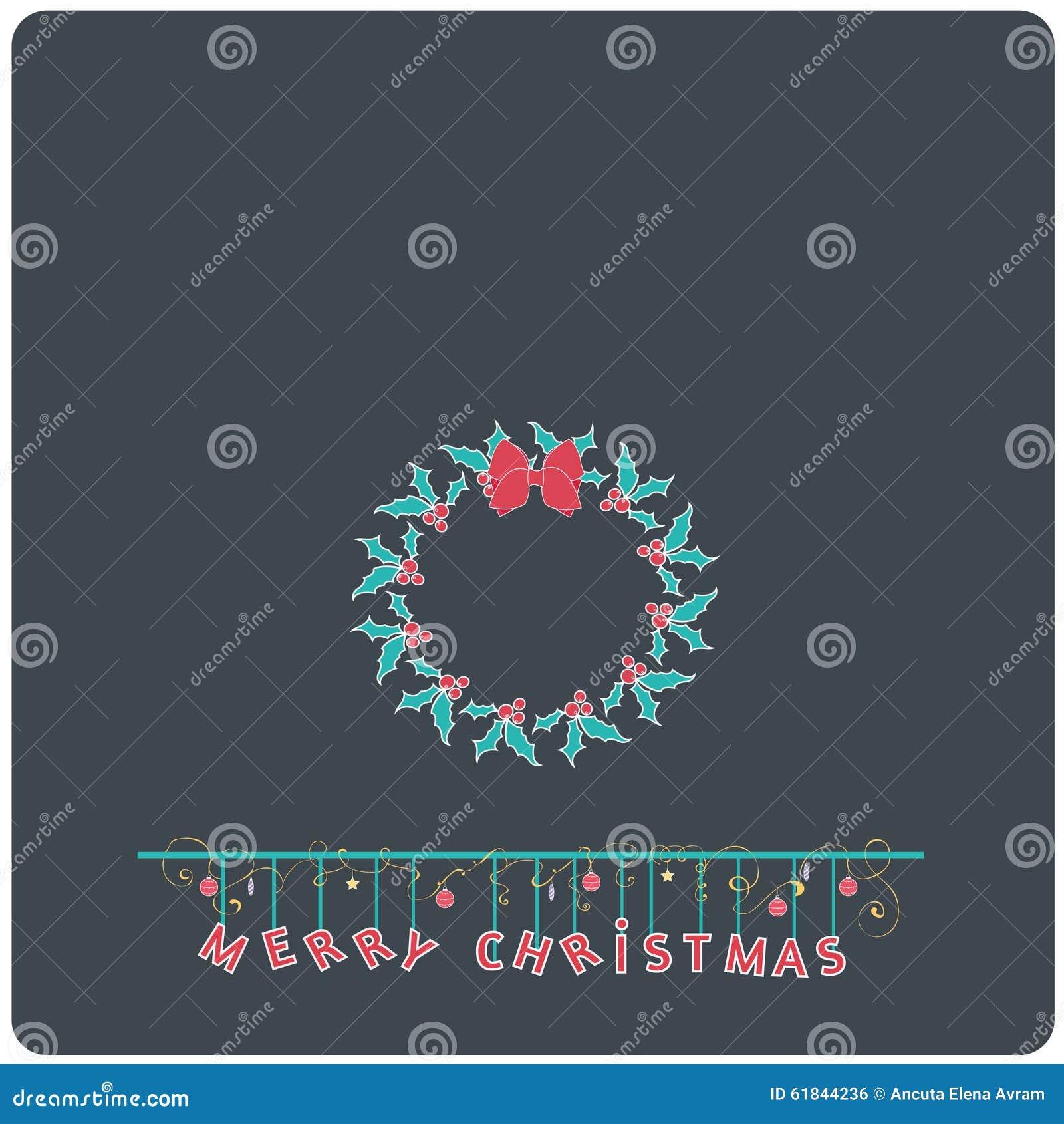 Minimalistic flat design merry christmas e card with christmas minimalistic flat design merry christmas e card with christmas mistletoe ribbon wreath buycottarizona Image collections
