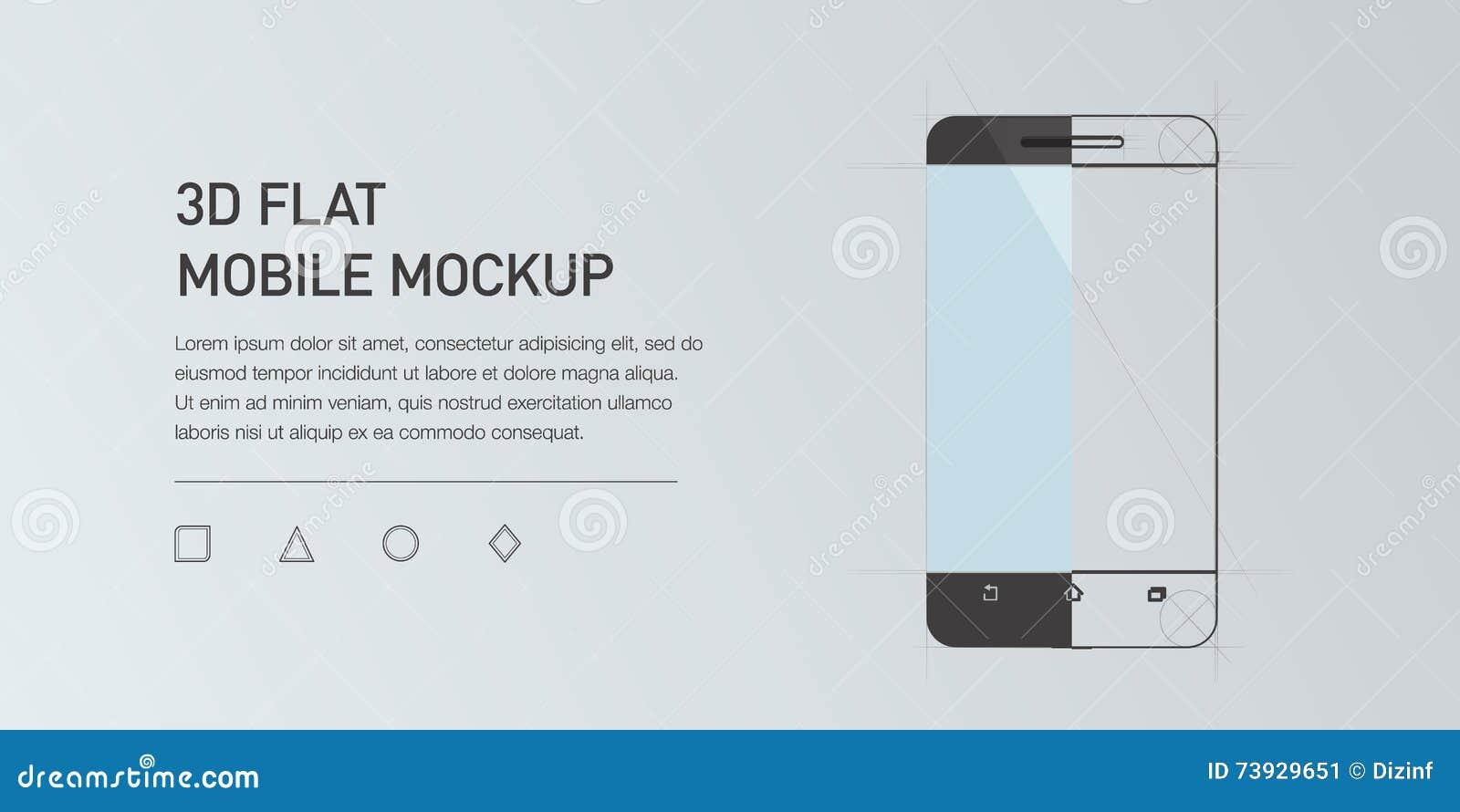 Minimalistic flat illustration of mobile phone. Mockup generic smartphone.