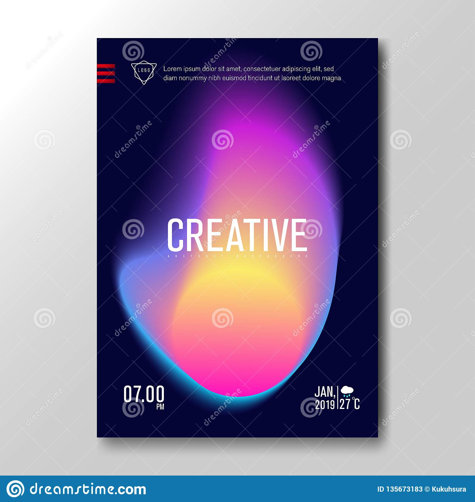 Modern Fluid Blurred Gradient with soft colorful Background for Poster, Invitation Card, Brochure, Advertising, Placard, Music