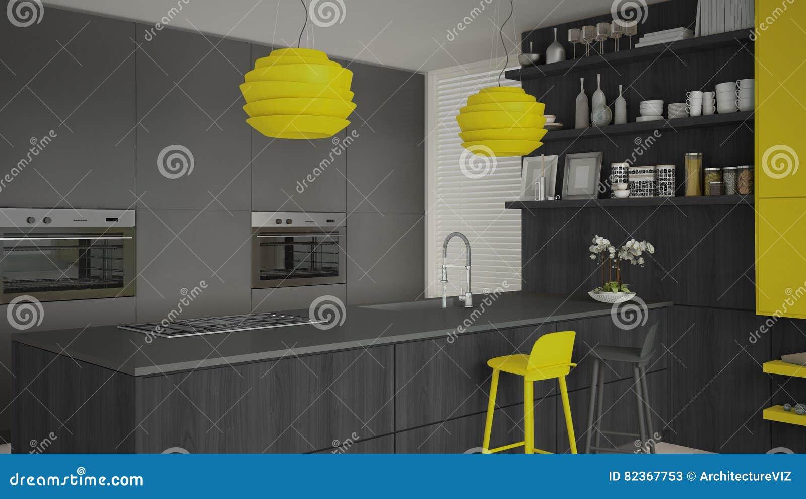 Gele Keuken 8 : Minimalistic grijze keuken met houten en gele details minima stock