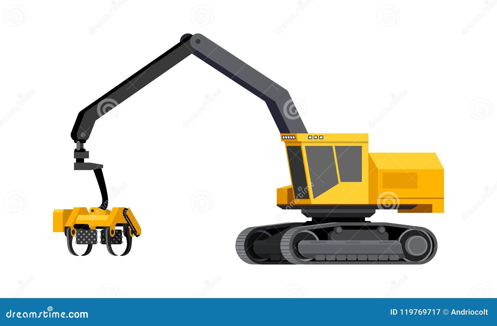 Log harvester vehicle stock vector  Illustration of