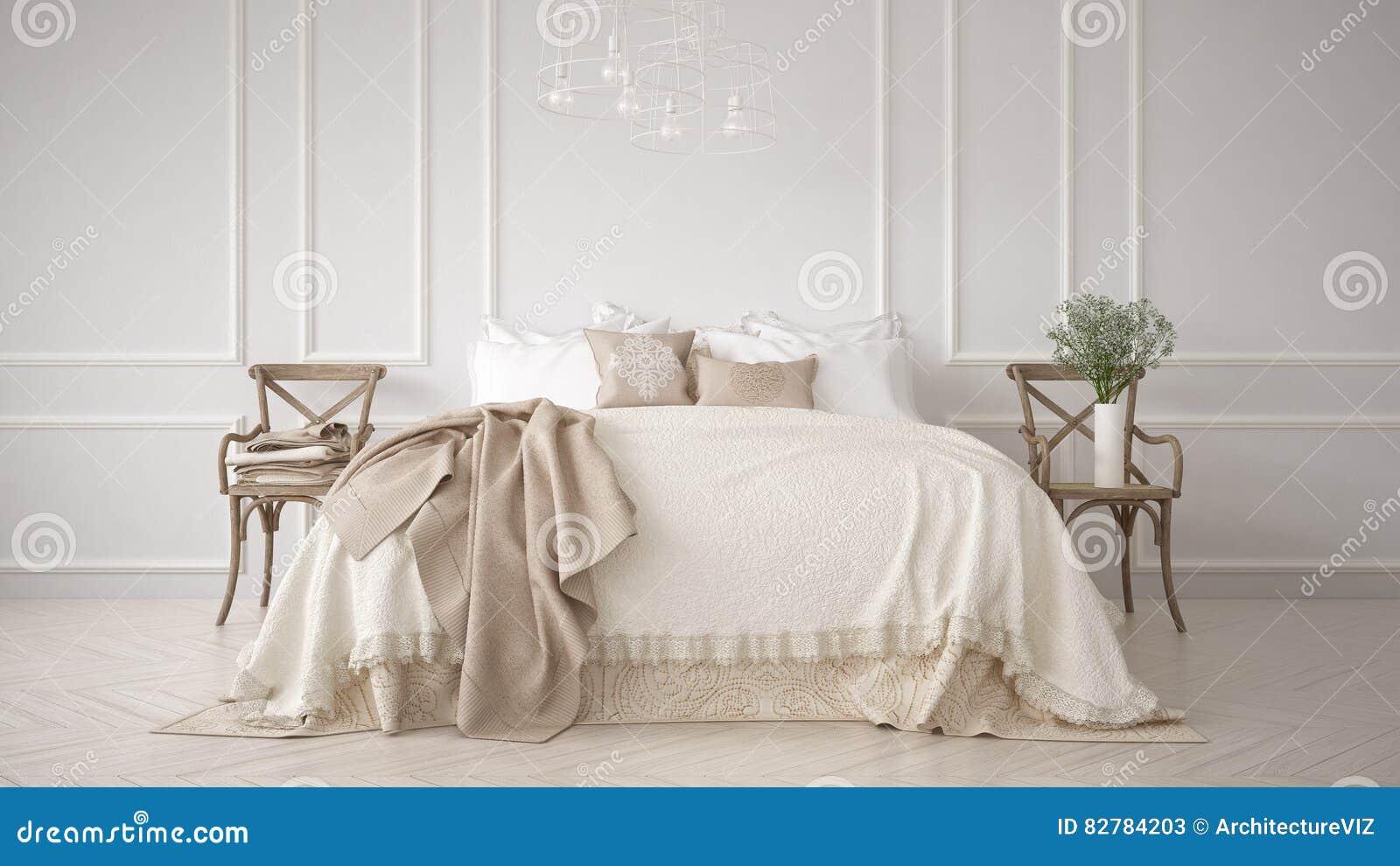 Minimalistic klassiskt sovrum, vit inredesign