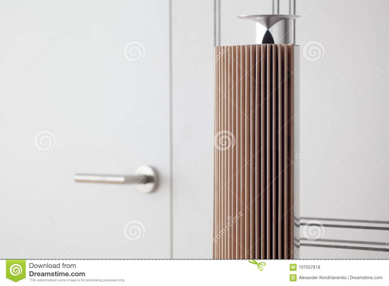 Download A Minimalistic Lighting Element In The Interior Made Of Metal And Wood. Stock Photo & A Minimalistic Lighting Element In The Interior Made Of Metal And ...