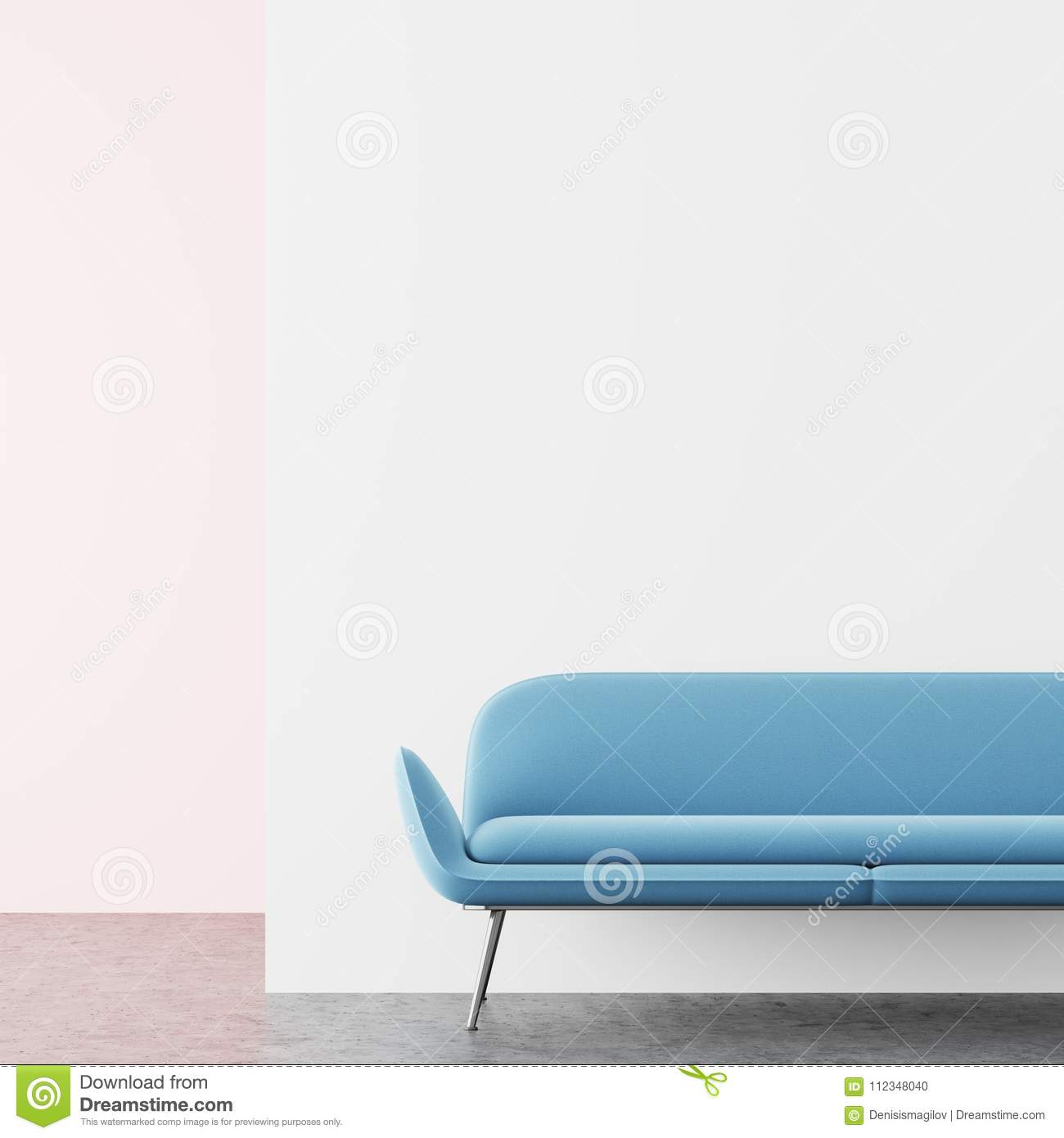 White And Pink Living Room, Blue Sofa