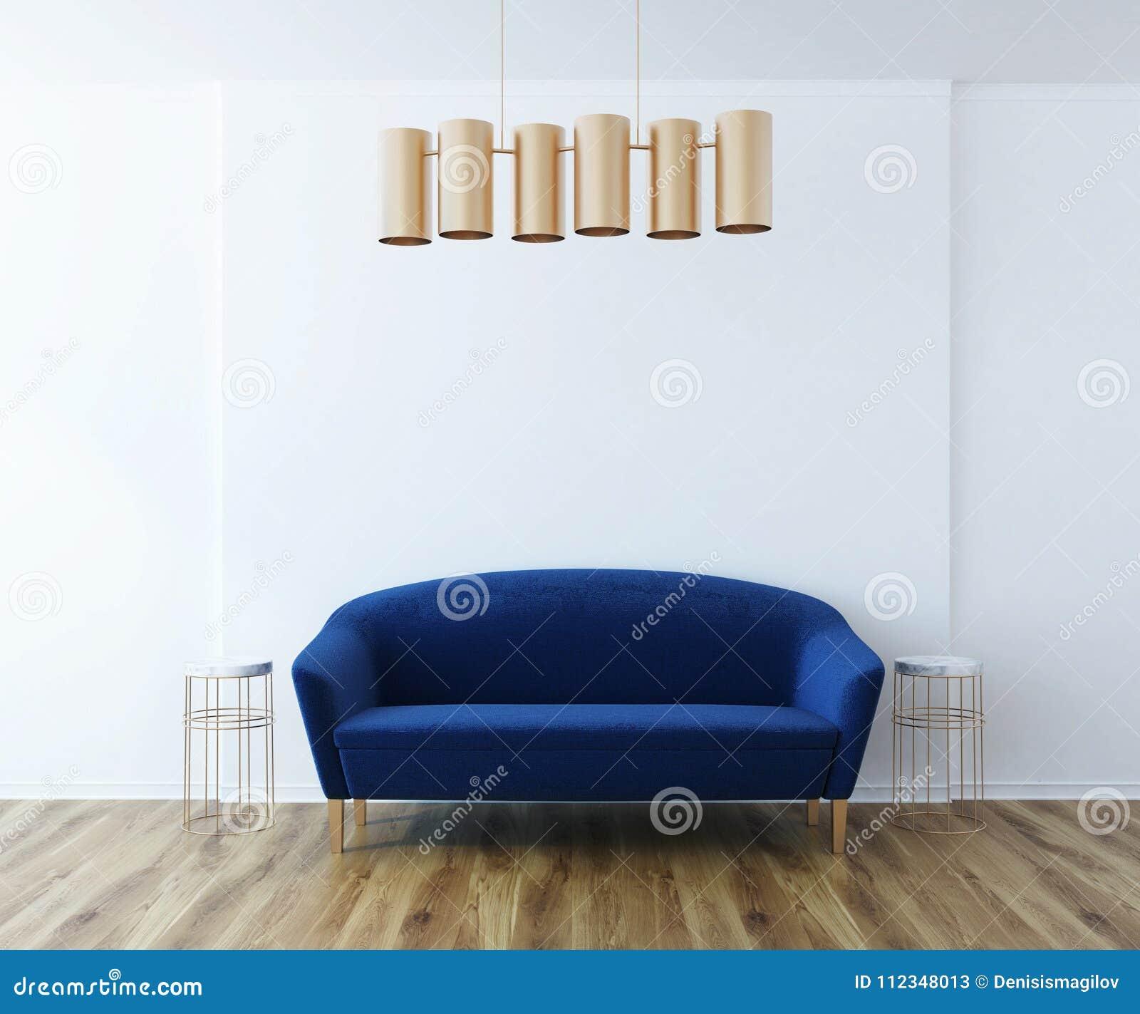 White Living Room Blue Sofa Stock Illustration Illustration Of Interior Classical 112348013