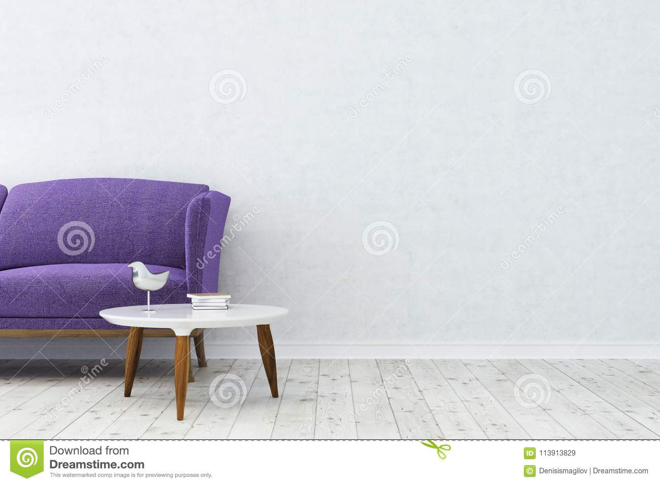 Astounding White Living Room Purple Sofa Close Up Stock Illustration Theyellowbook Wood Chair Design Ideas Theyellowbookinfo