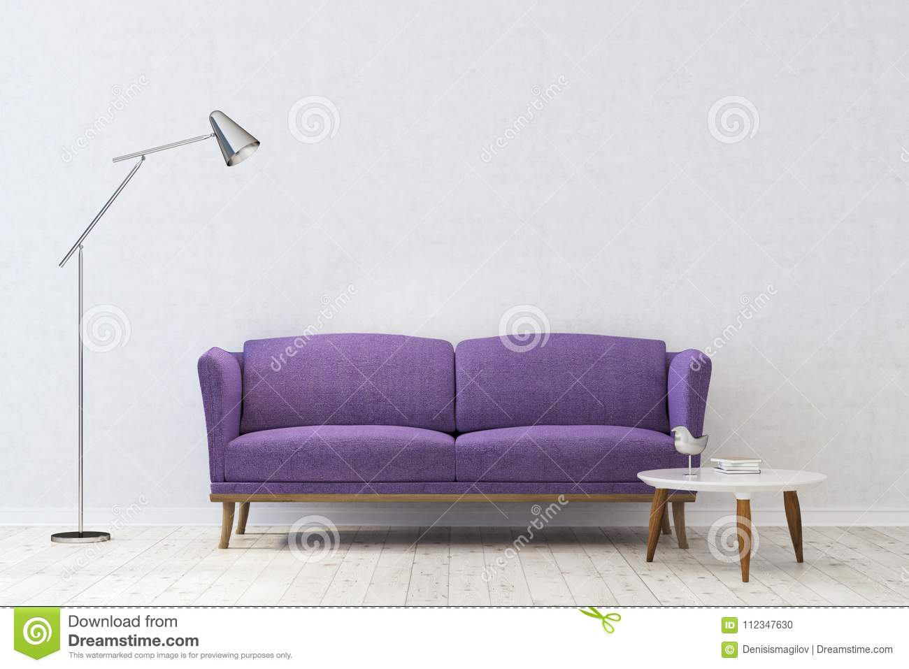 Wondrous White Living Room Purple Sofa Stock Illustration Theyellowbook Wood Chair Design Ideas Theyellowbookinfo