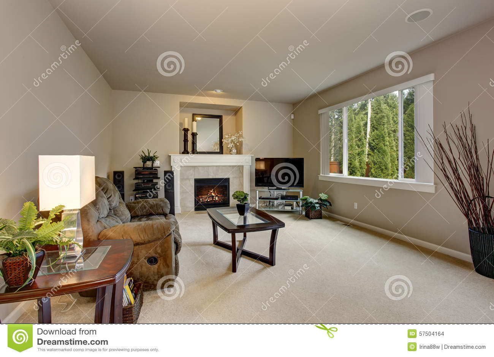 Minimalistic living room with white carpet stock photo image