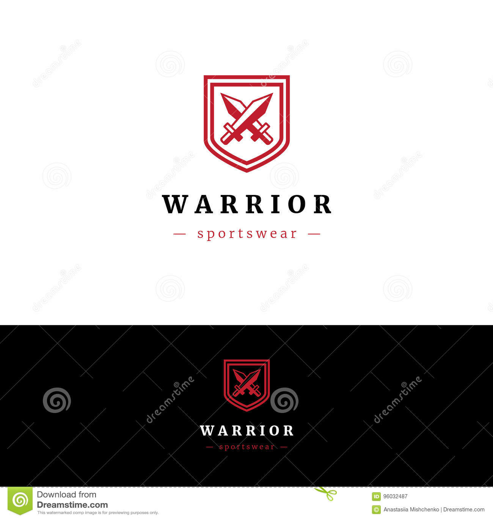 Minimalistic logo z dwa osłonami i kordzikami
