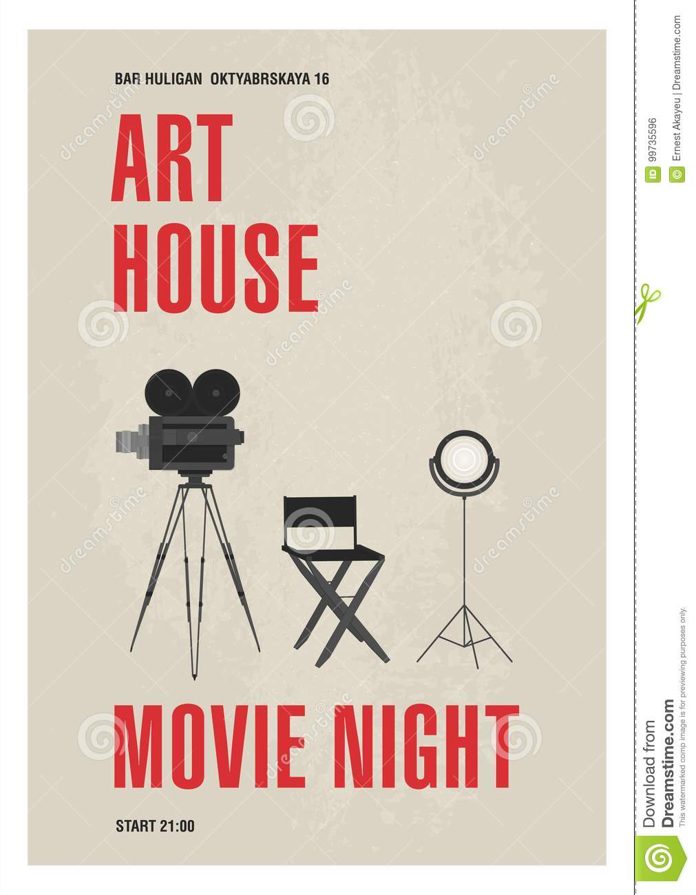 Minimalistic poster template for art house movie night with film camera standing on tripod, studio lamp and director