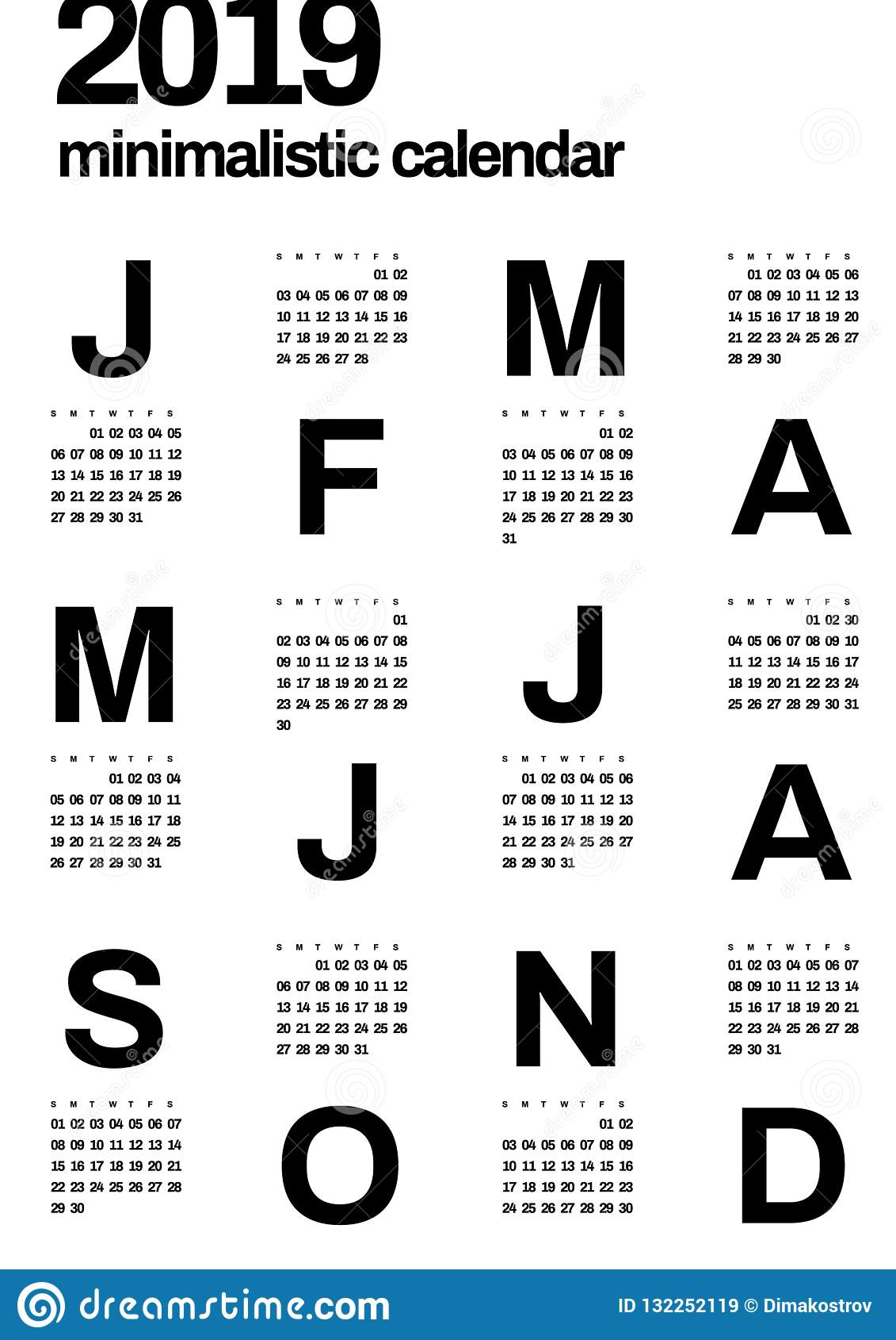 Minimalistic projekta kalendarz dla 2019 rok jeden kolor