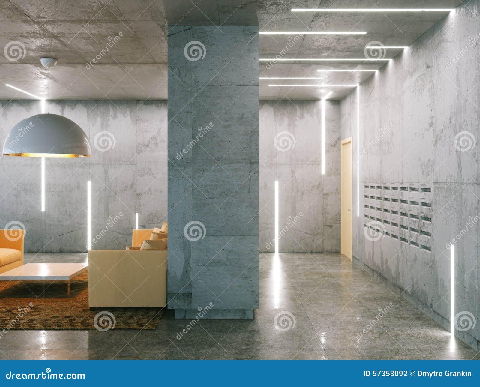 Minimalistic Raum Mit Betondecken Beitrag Und Wohnzimmer