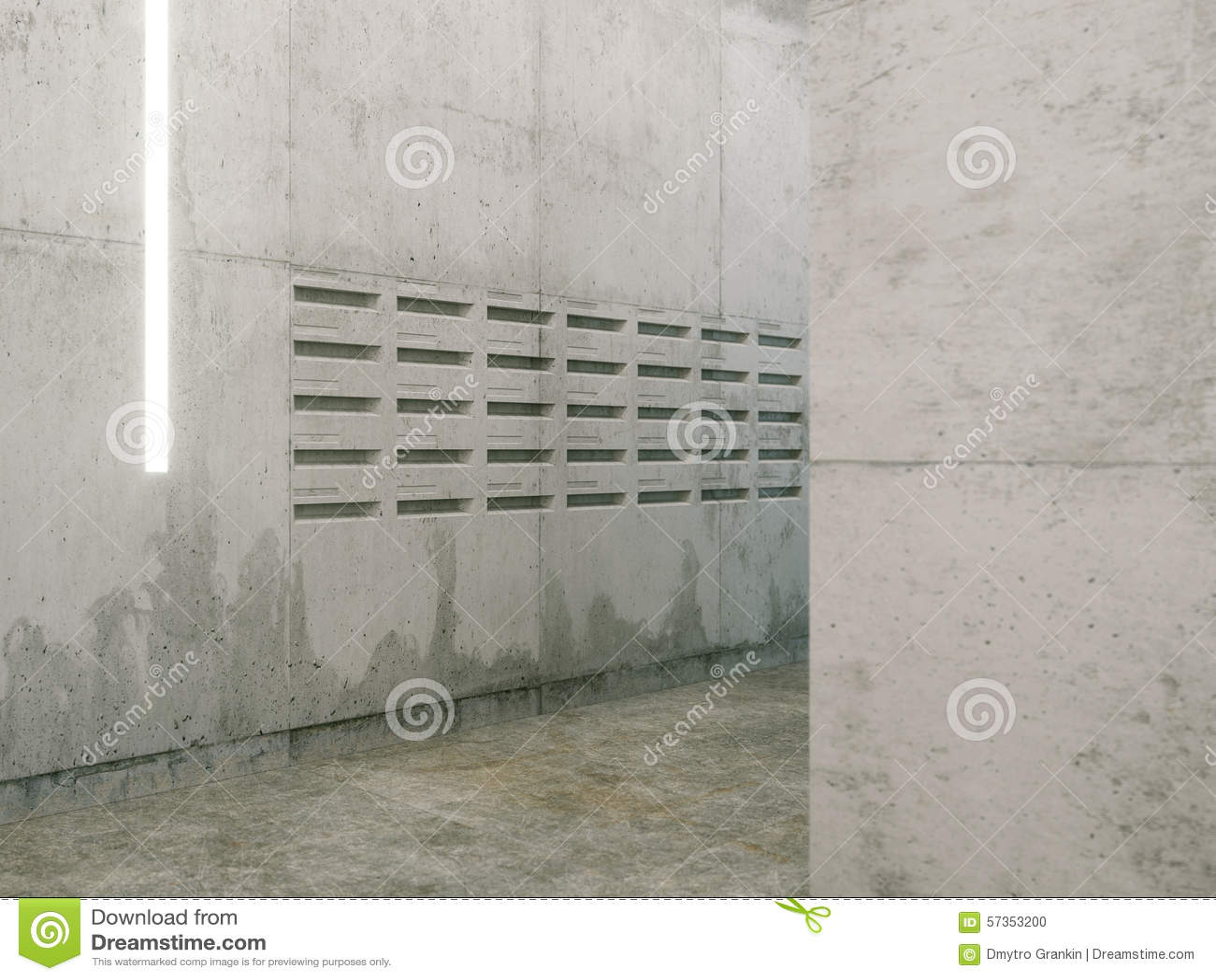 Minimalistic Raum Mit Betondecken Briefkastenansicht Stock