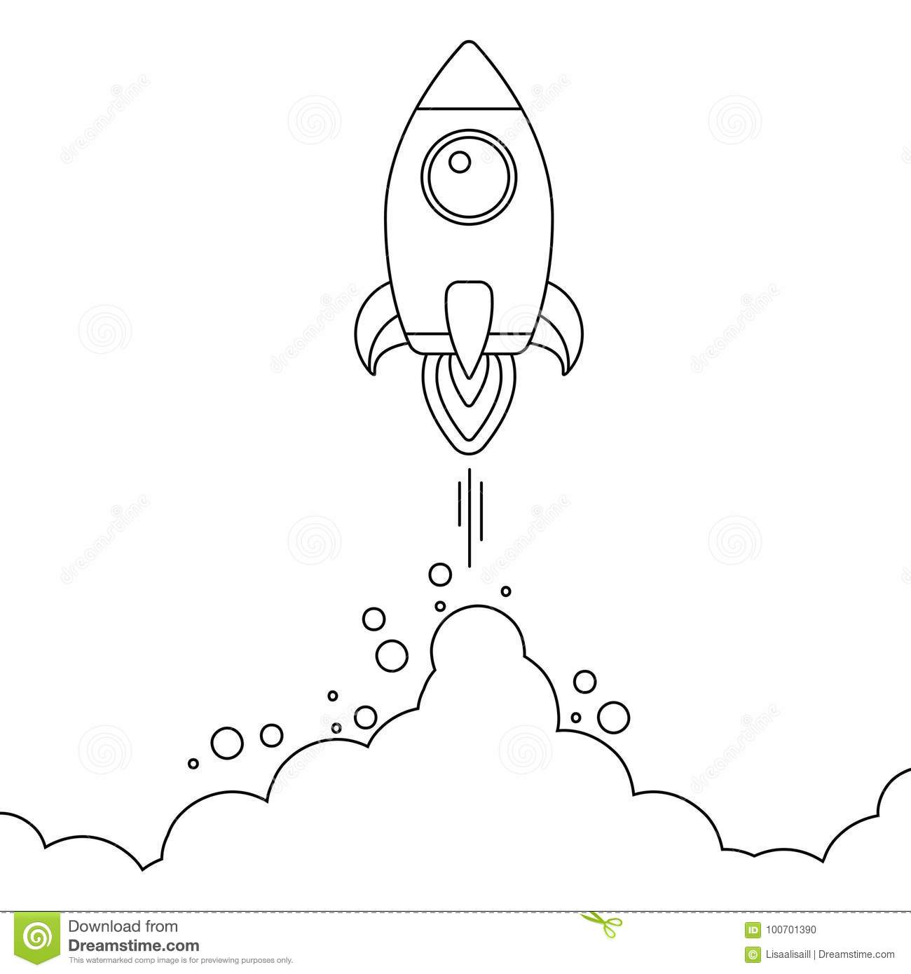 Minimalistic Rocket Launch Line Icon Rocket Illustration With