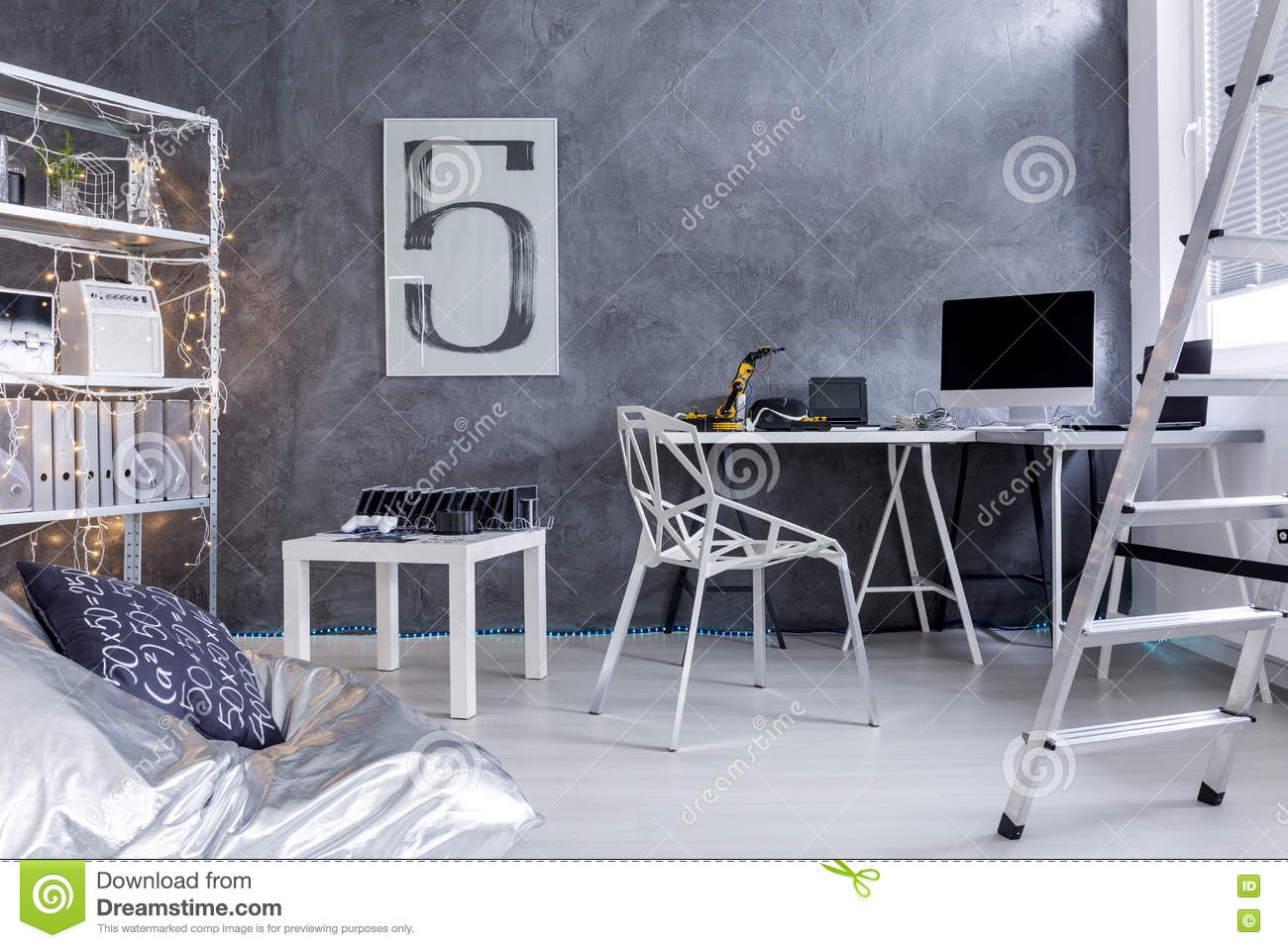 Tremendous Minimalistic Room With Ladder And Bean Bag Chair Stock Image Bralicious Painted Fabric Chair Ideas Braliciousco