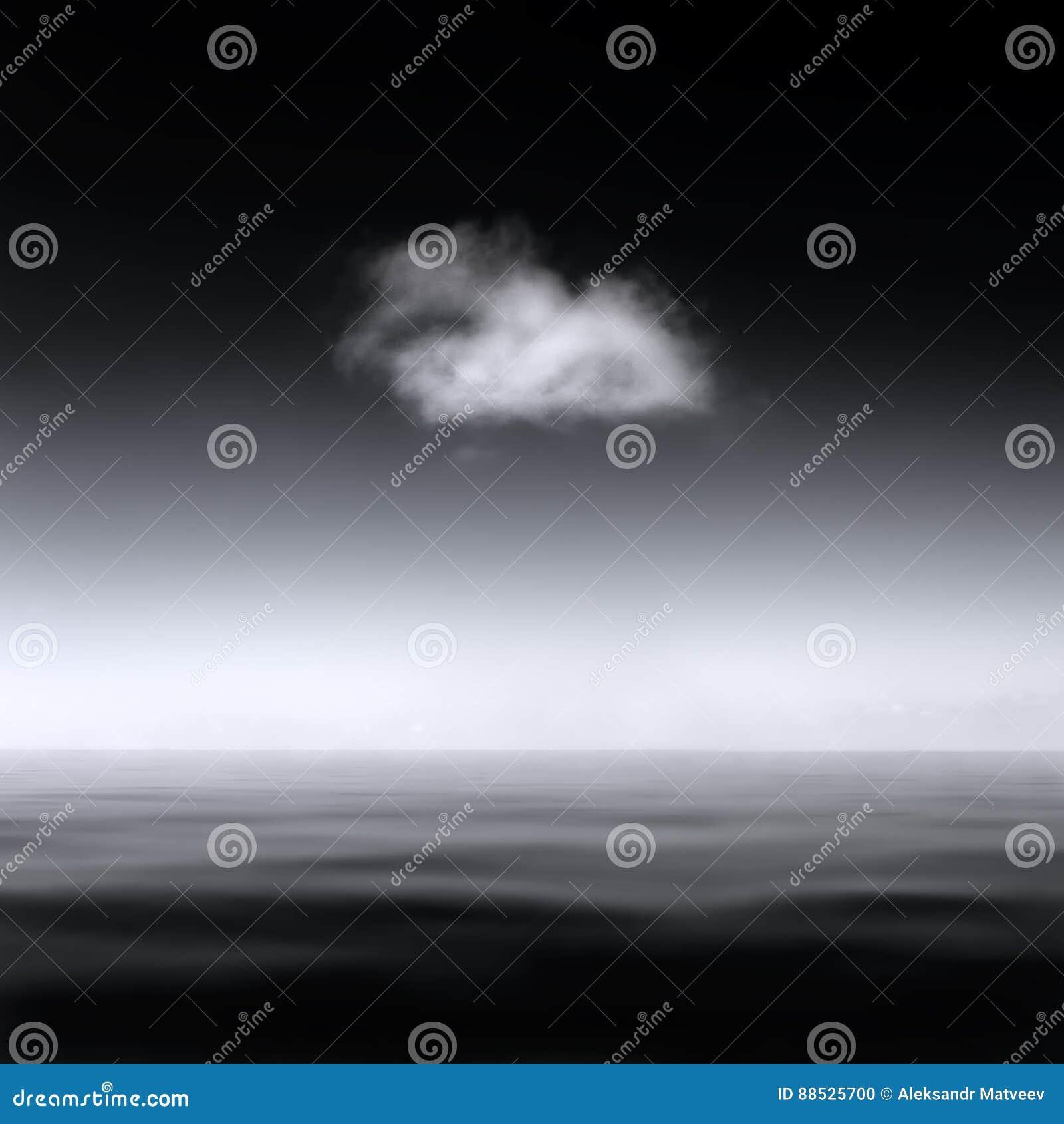 Minimalistic soustraient le paysage d un nuage simple au-dessus d une mer lisse, B&W