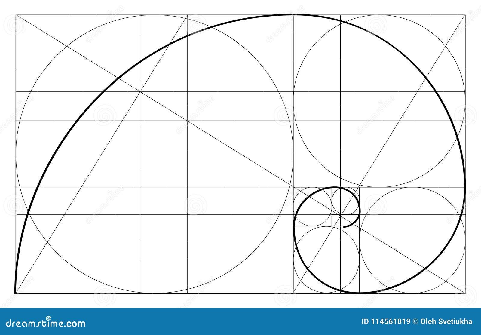 Minimalistic style design. Golden ratio. Geometric shapes. Circles in golden proportion. Futuristic design. Logo. Vector icon. Abs