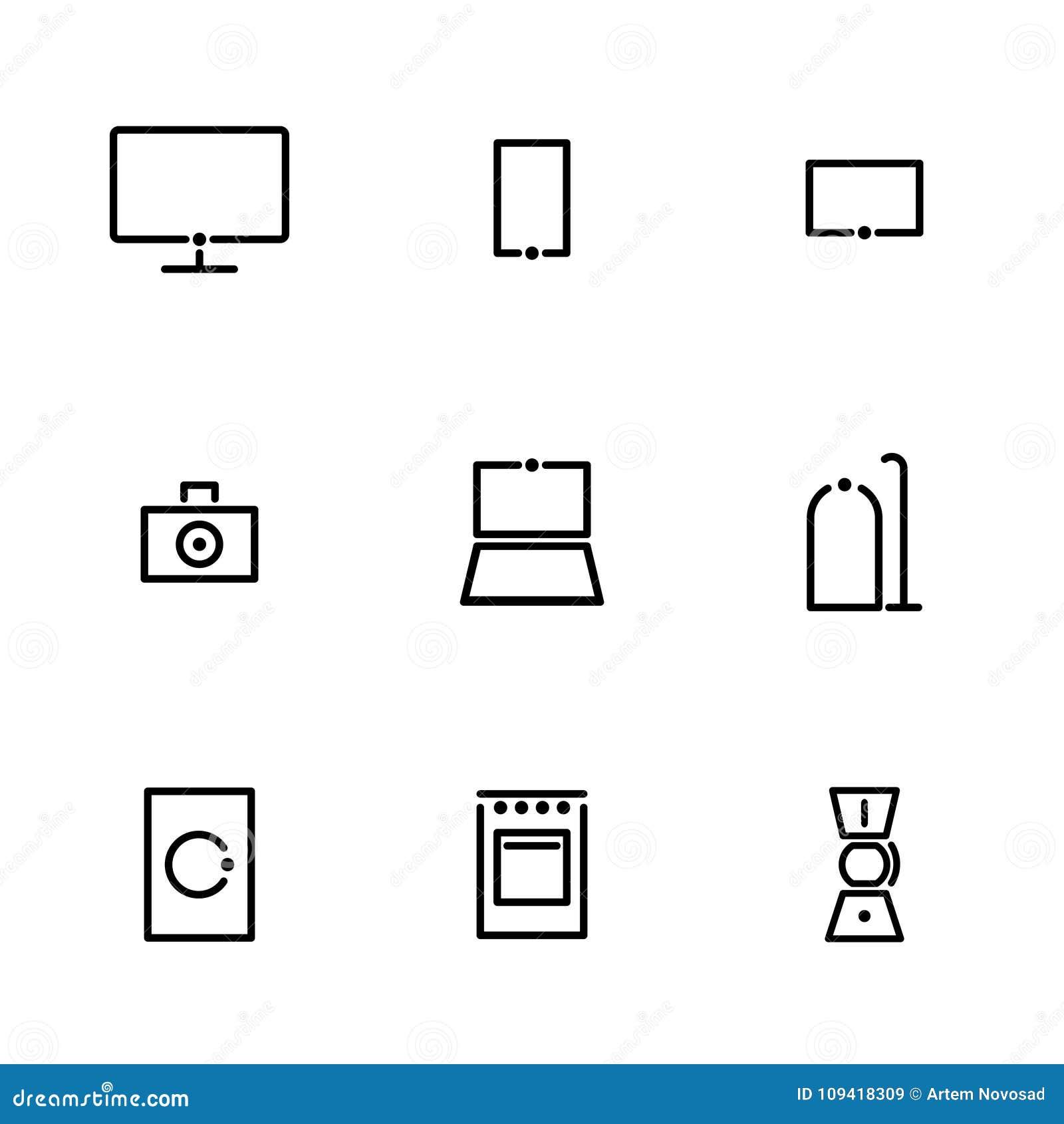 Minimalistic symboler för stora och små hushållanordningar och elektronik