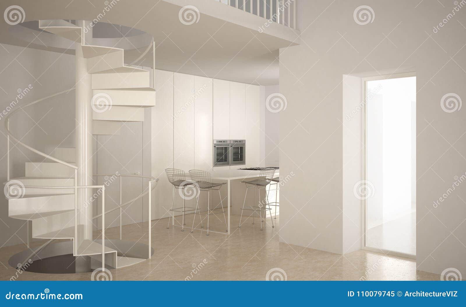 Download Minimalistic Treppe Im Modernen Leeren Raum Mit Küche Im BAC Stock  Abbildung   Illustration