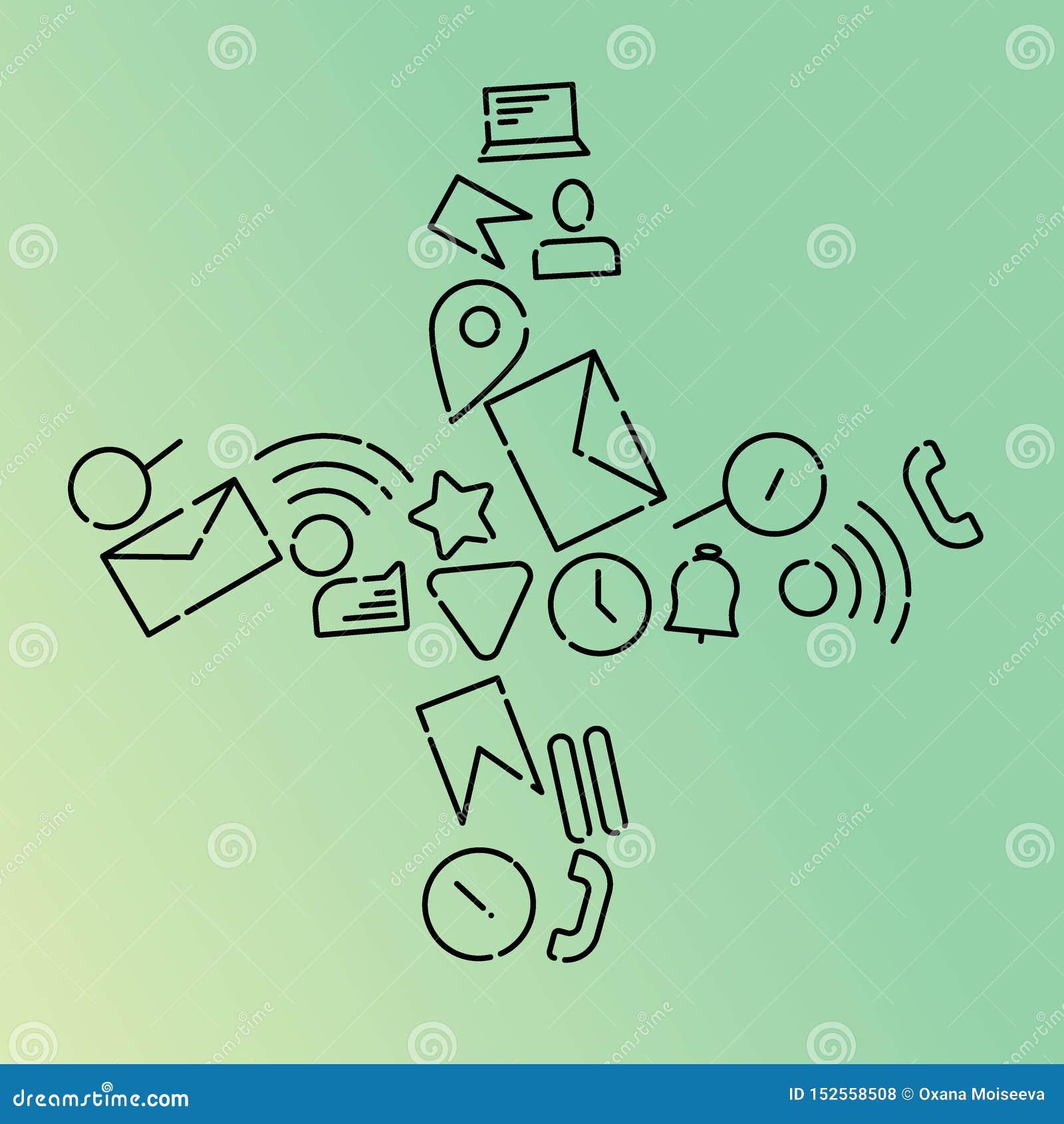 Minimalistic vektorillustration av symboler på ämnet av internet, applikationer, affär i form av a plus Mintkaramelllutning