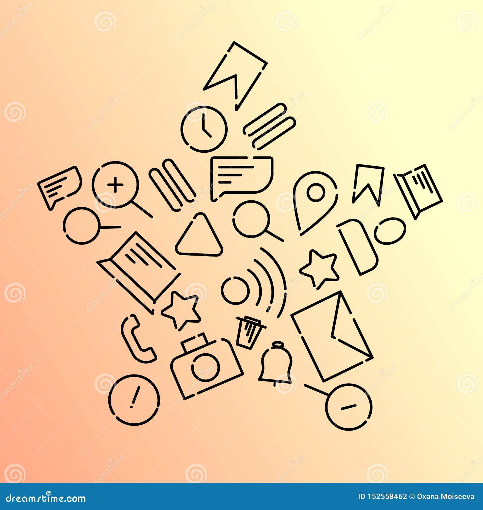Minimalistic Wektorowa ilustracja ikony na temacie internet, zastosowania, biznes w postaci gwiazdy Pomara?czowy gradient