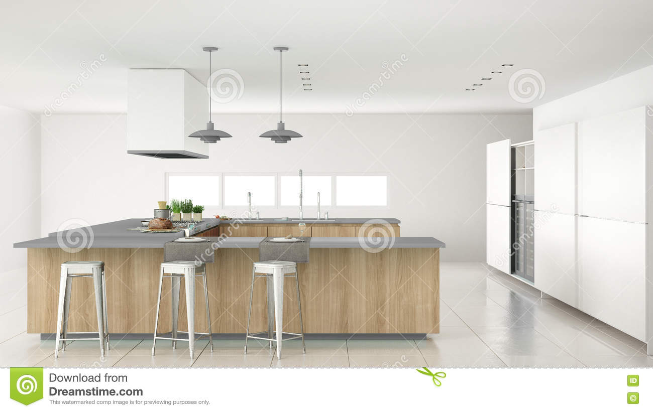 Minimalistic White Kitchen With Wooden And Gray Details Minimal Stock Photography