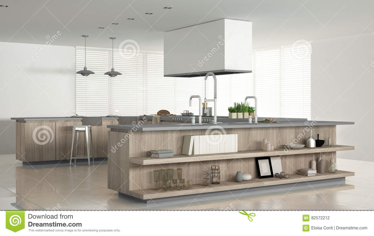 Minimalistic white kitchen with wooden and gray details for Kitchen design details