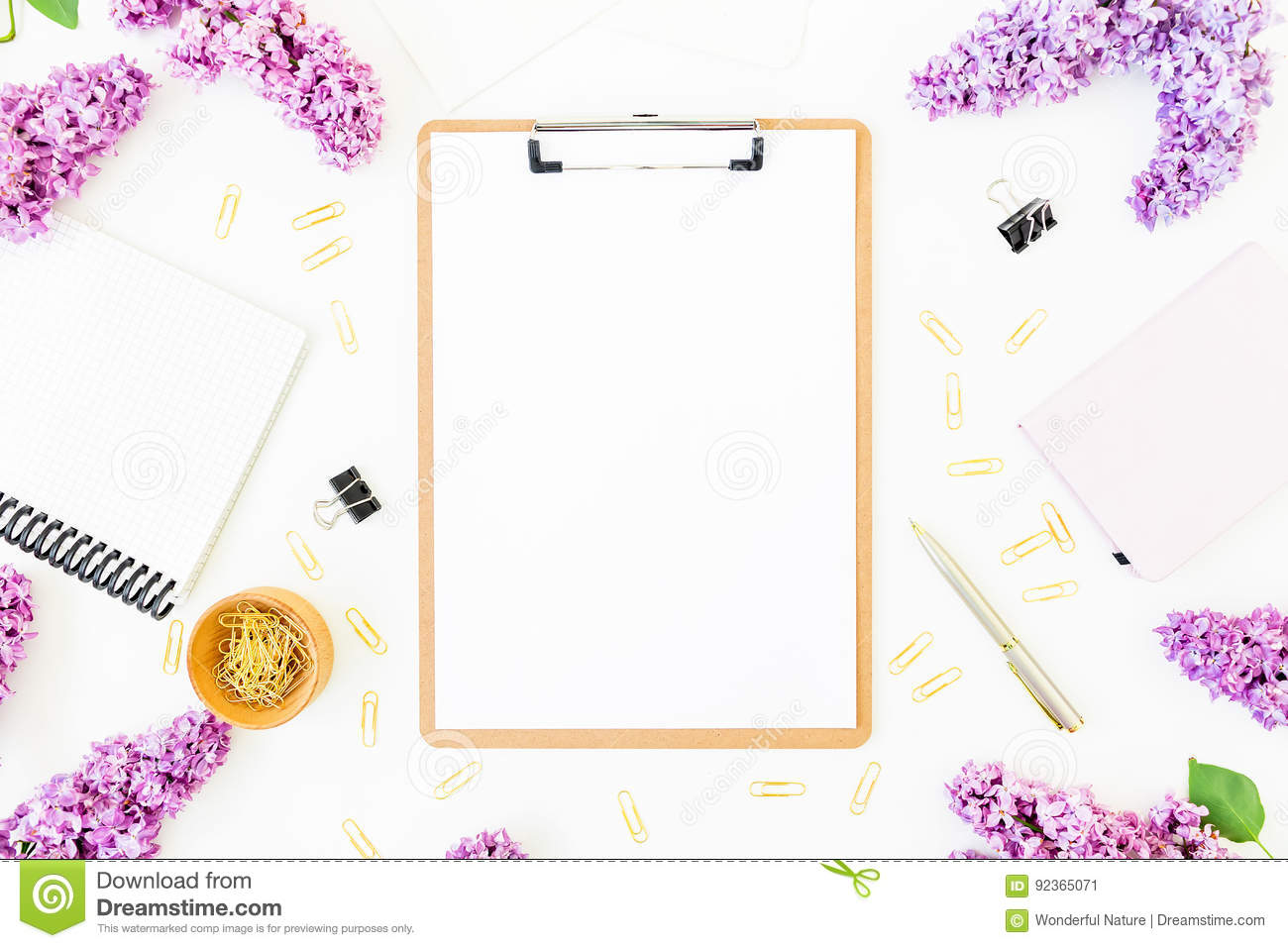 Download Minimalistic Workspace With Clipboard, Notebook, Pen, Lilac And Accessories On White Background. Flat Lay, Top View. Beauty Blog C Stock Image - Image of flat, clipboard: 92365071