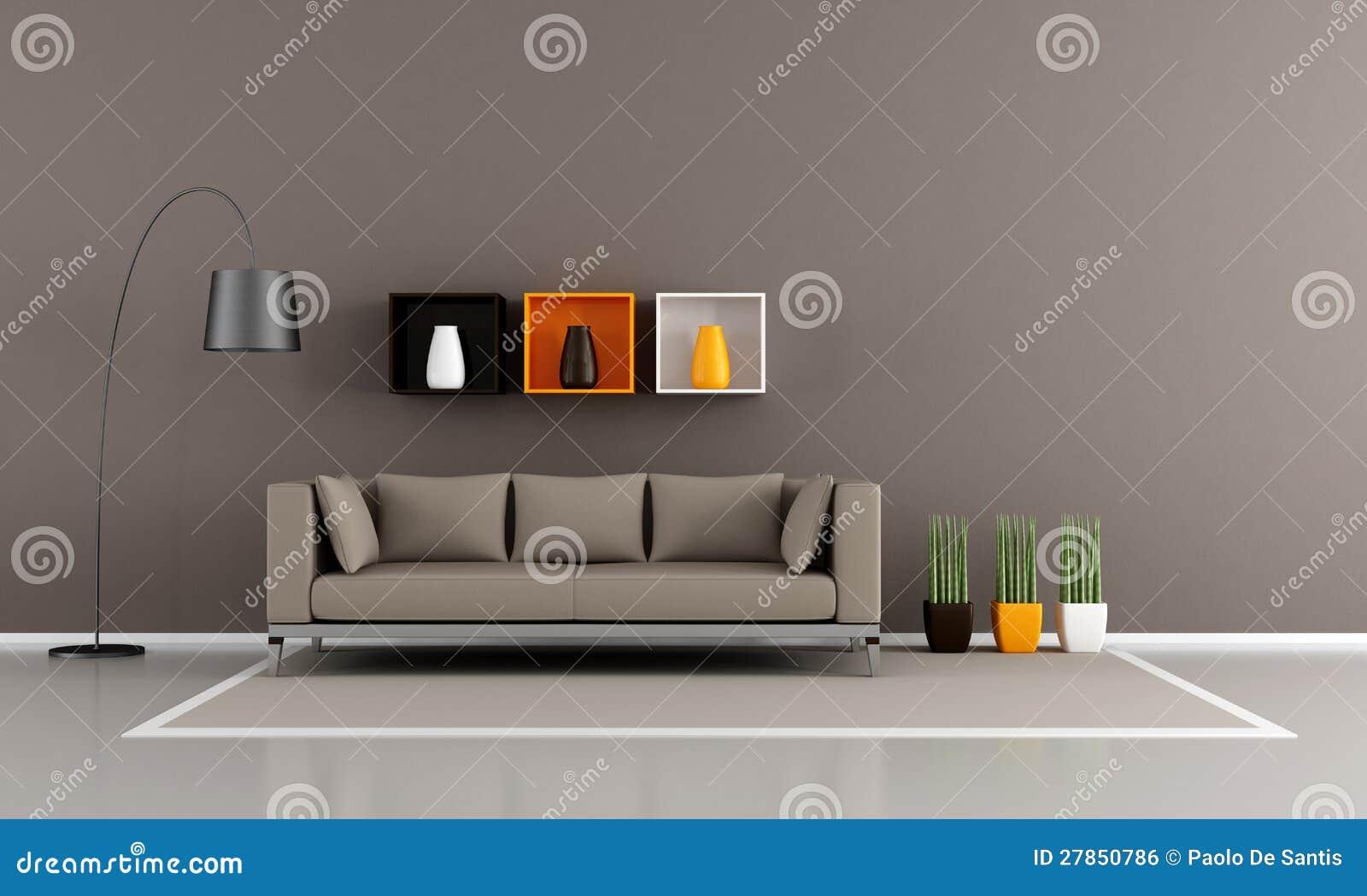 Minimalistische bruine woonkamer royalty vrije stock afbeelding afbeelding 27850786 - Afbeelding eigentijdse woonkamer ...