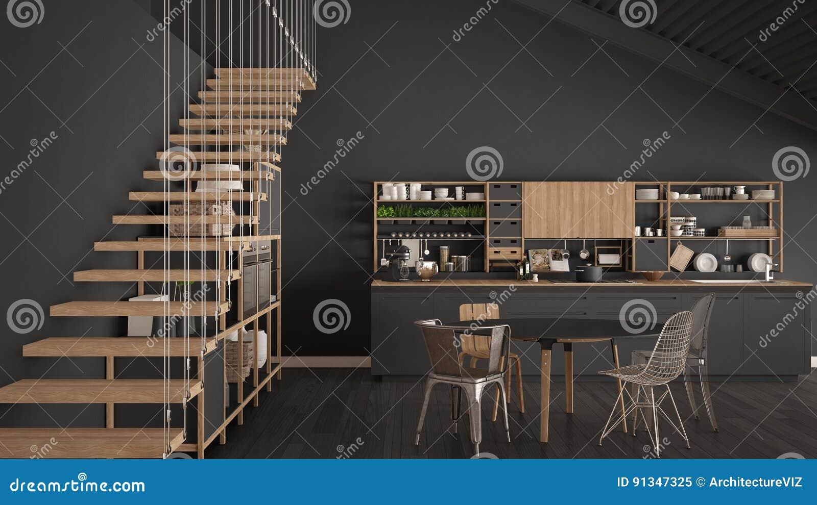 Keuken Interieur Scandinavisch : Minimalistische grijze houten keuken zolder met treden klassieke