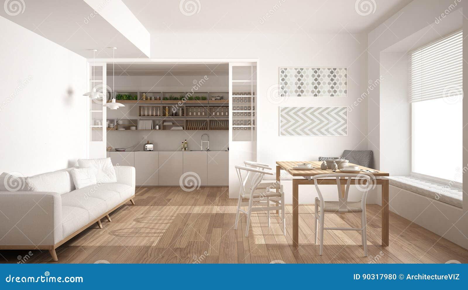 Minimalistische keuken en woonkamer met bank lijst en stoelen