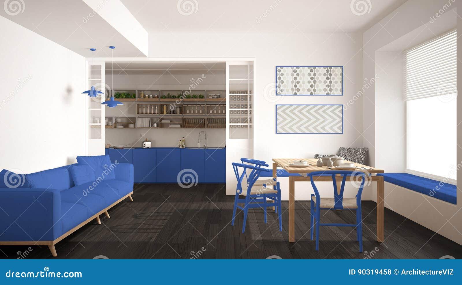 Witte Minimalistische Woonkeuken : Minimalistische keuken en woonkamer met bank lijst en stoelen