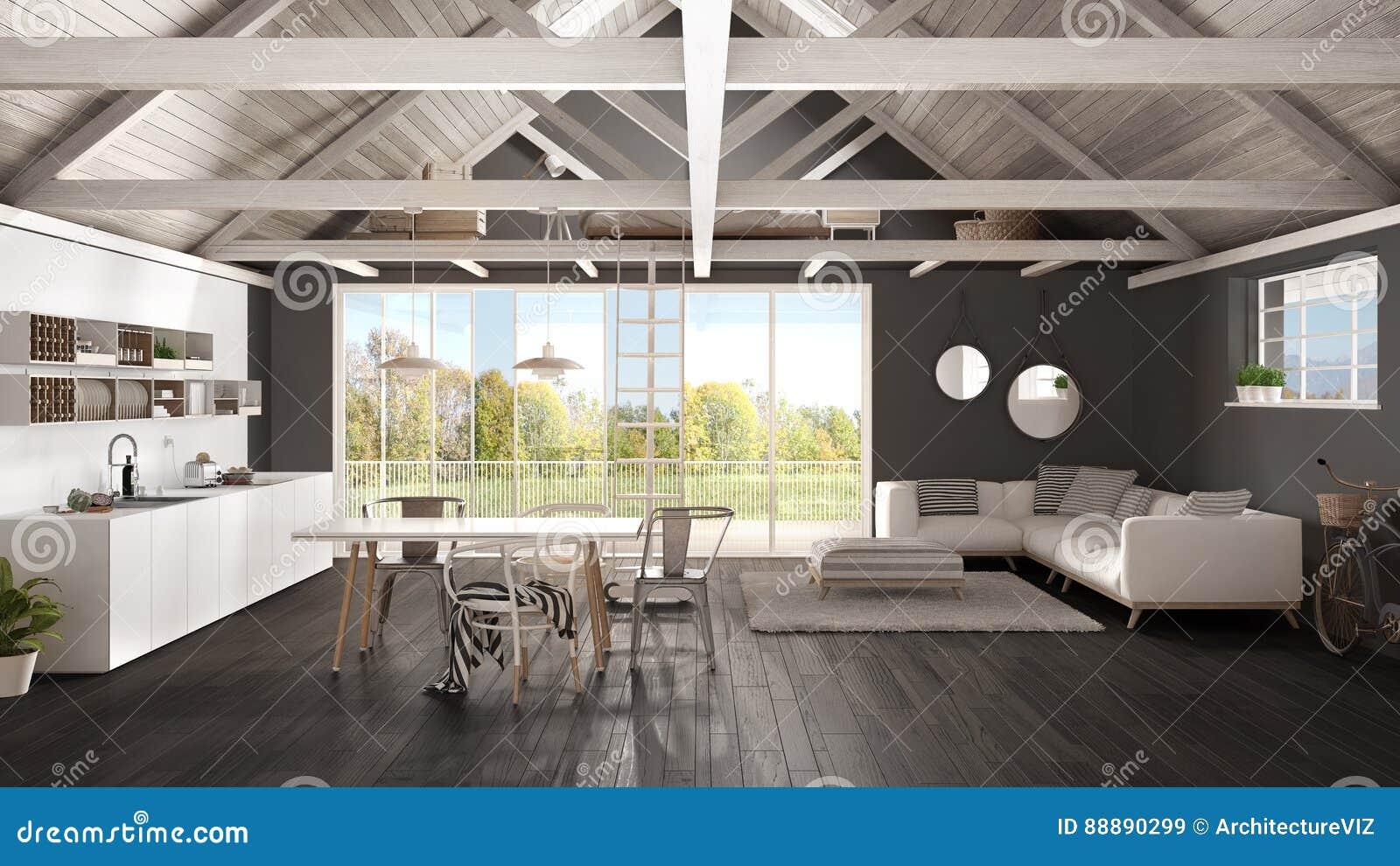Keuken Interieur Scandinavisch : Minimalistische mezzanine zolder keuken het leven en slaapkamer