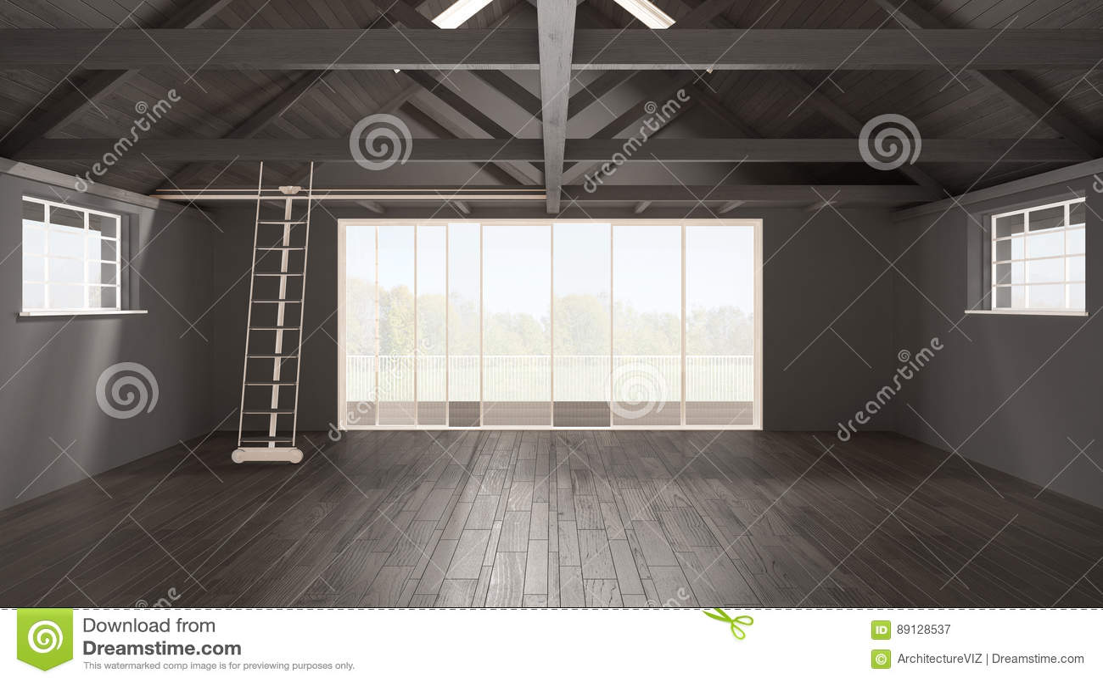 Minimalistische mezzanine zolder lege industriële ruimte houten