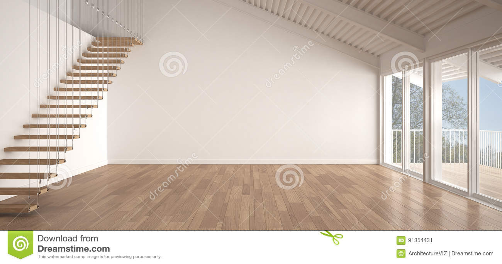 Minimalistische mezzanine zolder lege industriële ruimte