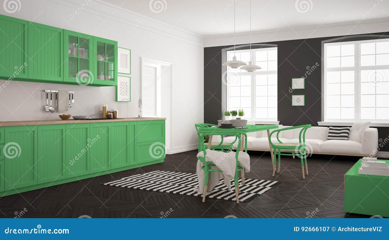 Eettafel In Woonkamer : Minimalistische moderne keuken met eettafel en woonkamer whi