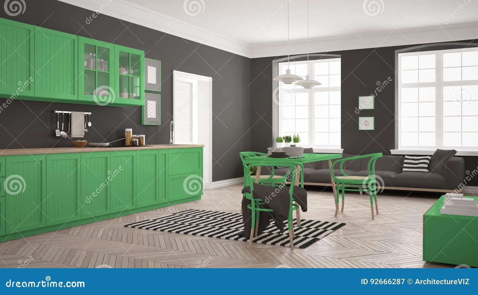 Eettafel In Woonkamer : Minimalistische moderne keuken met eettafel en woonkamer whi stock