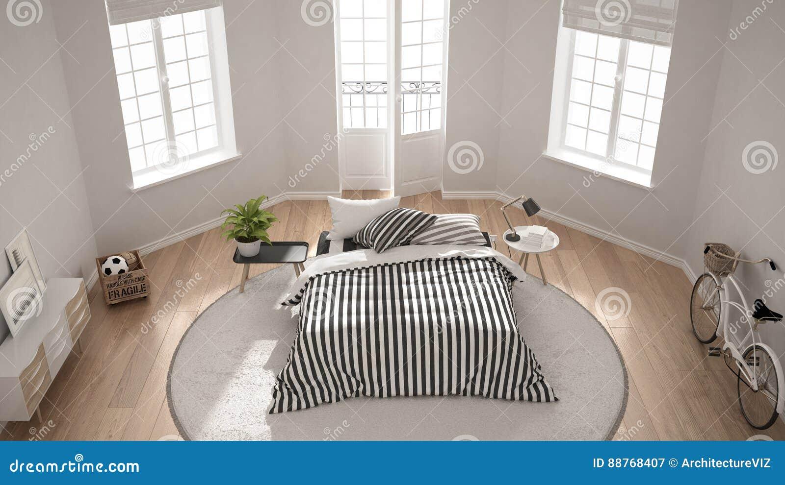 Minimalistische moderne witte slaapkamer klassiek noords